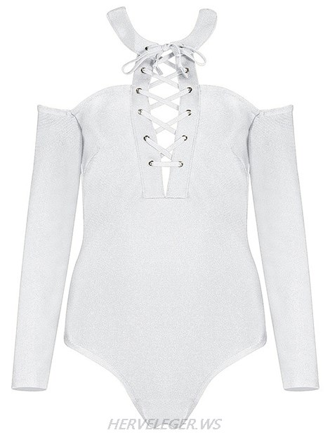 Herve Leger White Long Sleeve Halter Lace Up Bodysuit