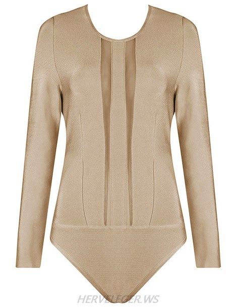 Herve Leger Nude Long Sleeve Mesh Bodysuit