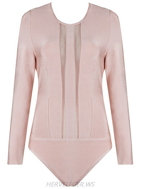 Herve Leger Pink Long Sleeve Mesh Bodysuit