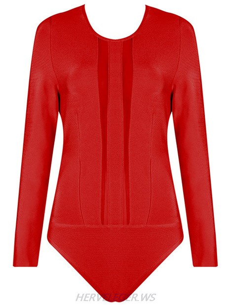 Herve Leger Red Long Sleeve Mesh Bodysuit