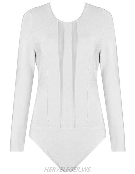 Herve Leger White Long Sleeve Mesh Bodysuit