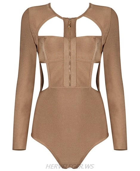 Herve Leger Brown Long Sleeve Zipper Bodysuit