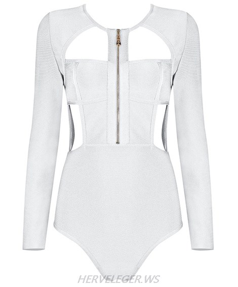 Herve Leger White Long Sleeve Zipper Bodysuit