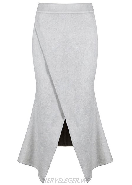 Herve Leger Grey Mermaid Suede Skirt