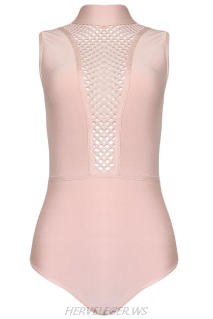 Herve Leger Pink Multistitch Crochet Bodysuit