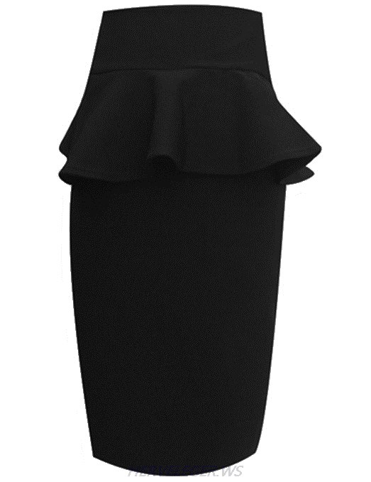 Herve Leger Black Peplum Pencil Skirt