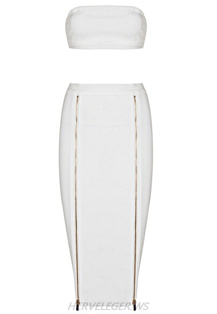 Herve Leger White Bandeau Zipper Two Piece Strapless Dress