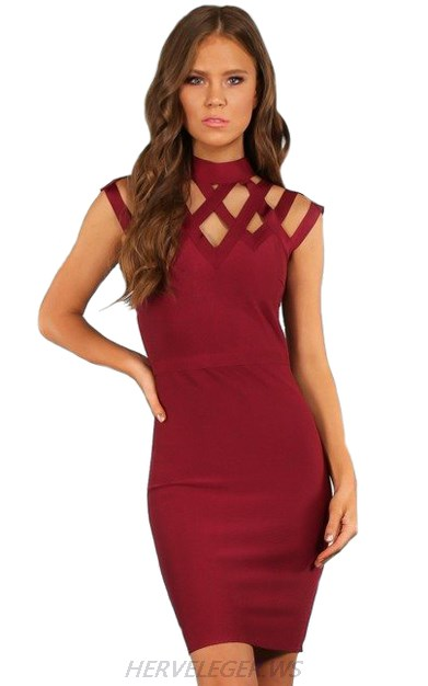 Herve Leger Burgundy Caged Dress