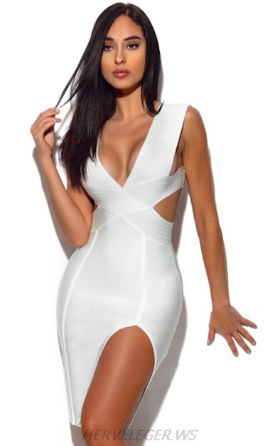 Herve Leger White V Neck Cut Out Slit Dress