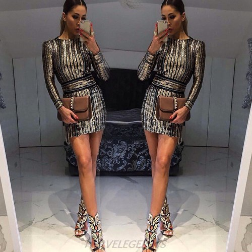 Herve Leger Kim Kardashian Gold Long Sleeve Sequin Chain Stars Dress