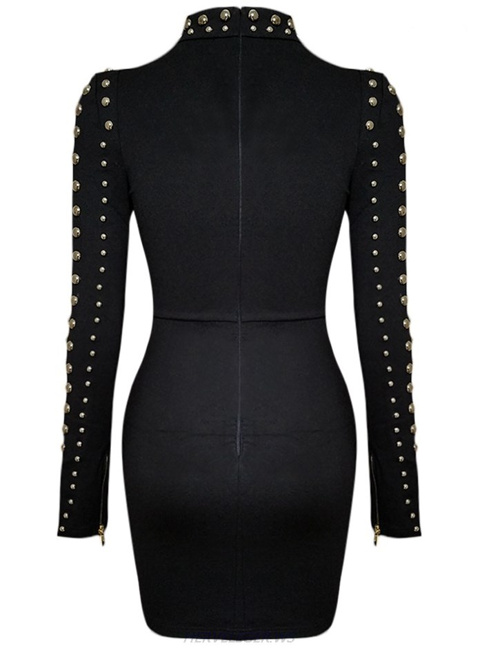 Herve Leger Black Long Sleeve Studded Asymmetric Stars Dress