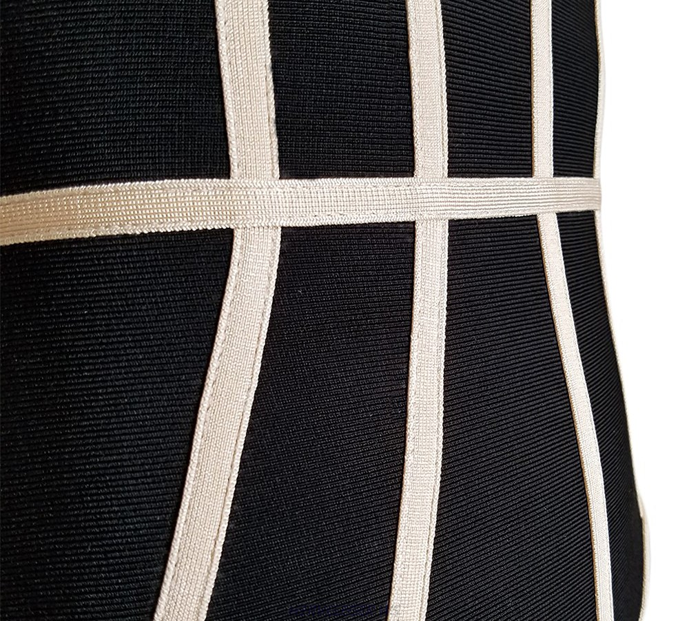 Herve Leger Black And Nude Strapless Bandage Dress