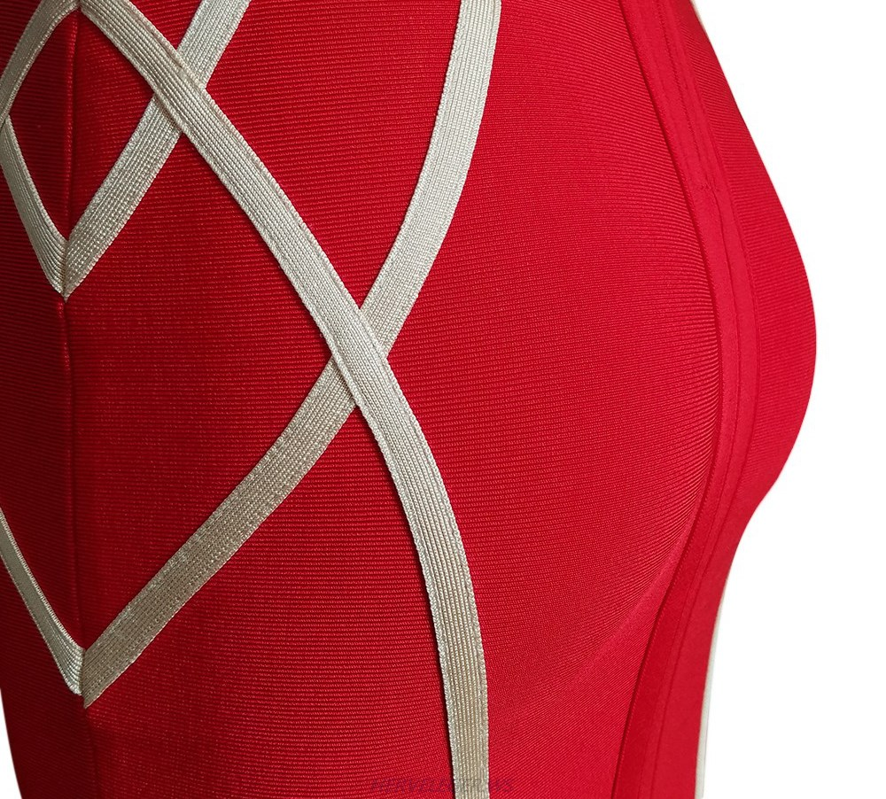 Herve Leger Red And Nude Strapless Bandage Dress