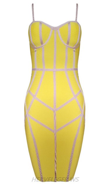 Herve Leger Yellow And Nude Strapless Bandage Dress