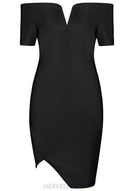 Herve Leger Black Short Sleeve Sweetheart Bardot Strapless Dress