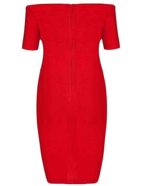 Herve Leger Red Short Sleeve Sweetheart Bardot Strapless Dress
