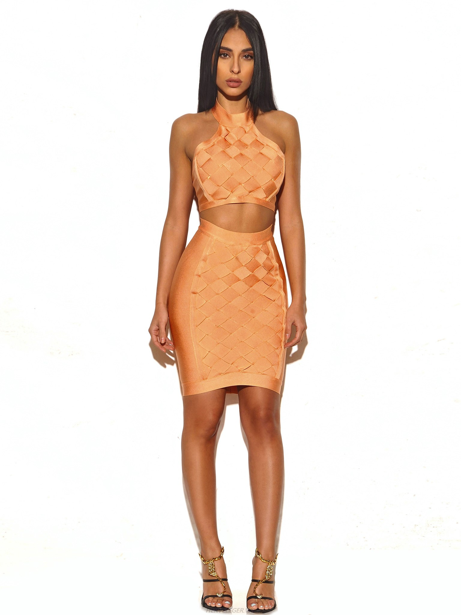 Herve Leger Pink Weave Two Piece Dress