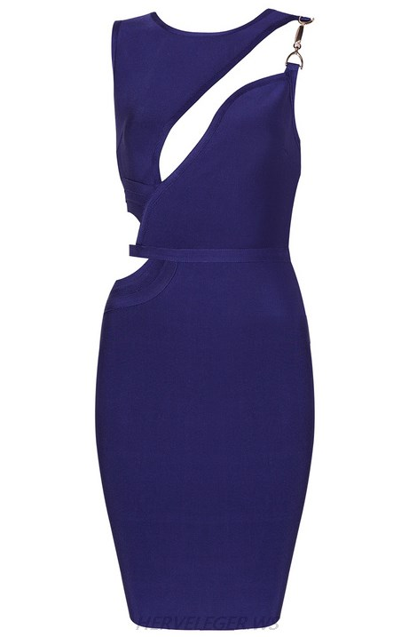 Herve Leger Blue Asymmetric Cut Out Dress