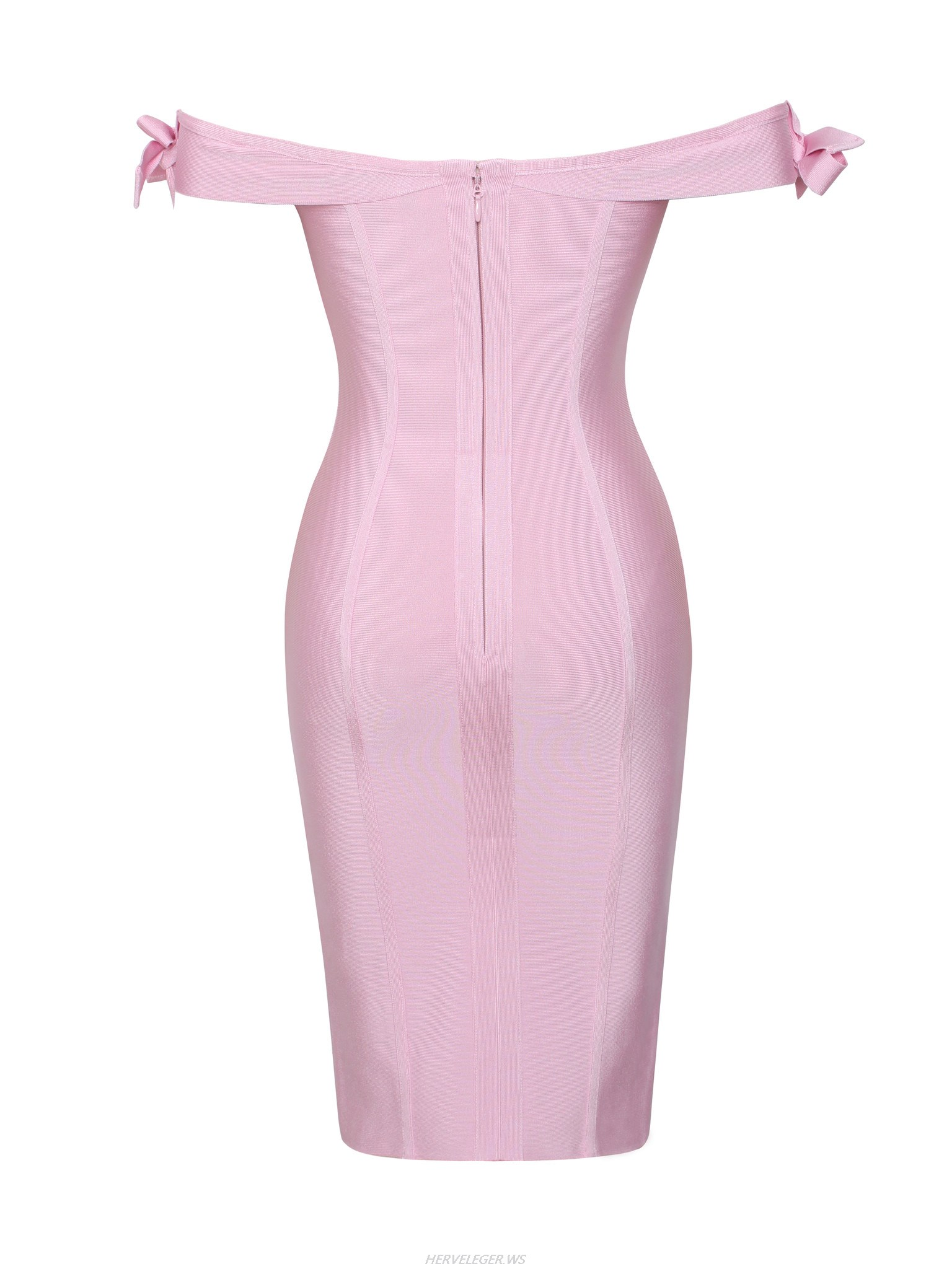 Herve Leger Pink Strapless Off The Shoulder Dress