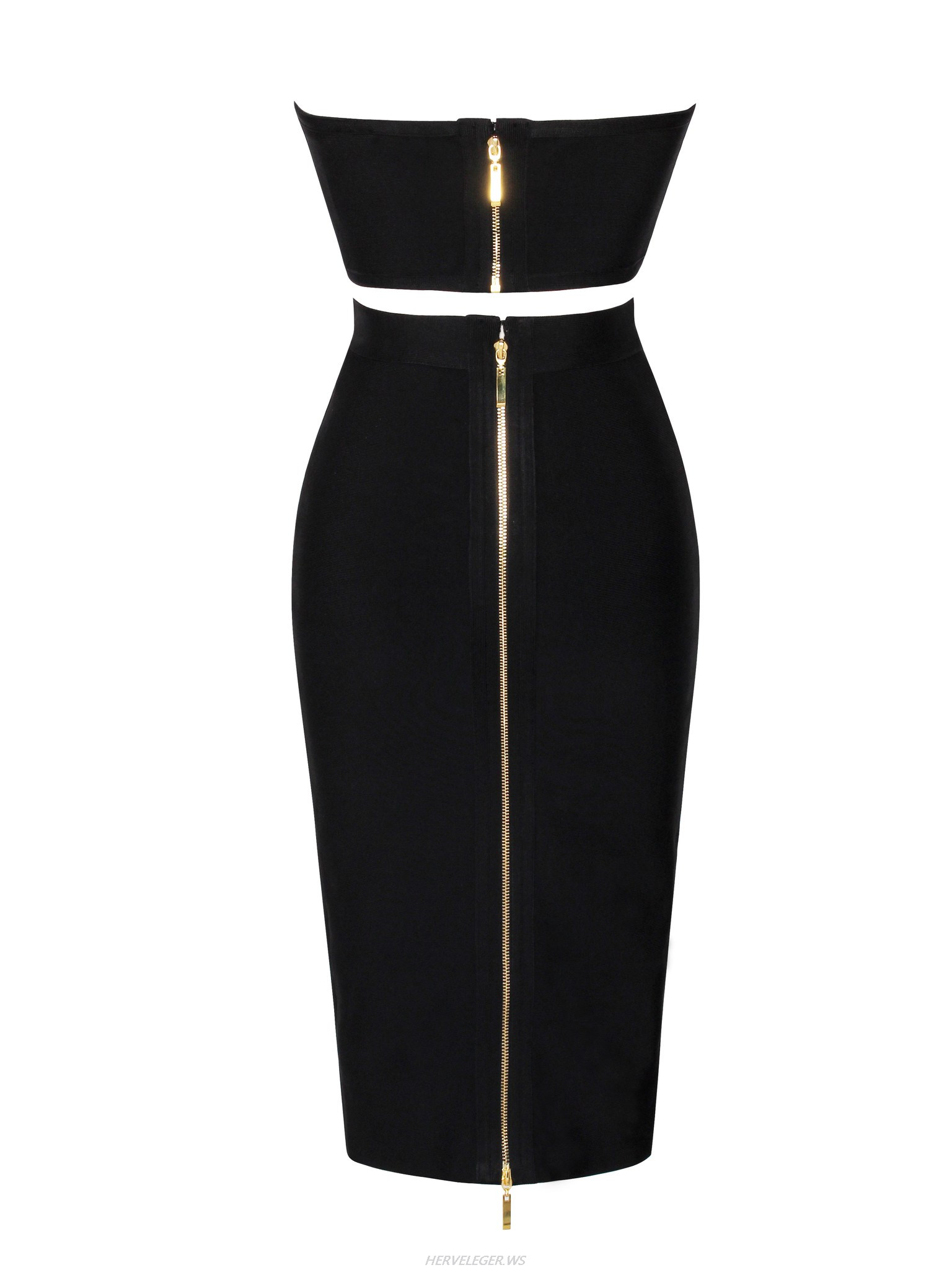 Herve Leger Black Strapless Sweetheart Top Two Piece Dress
