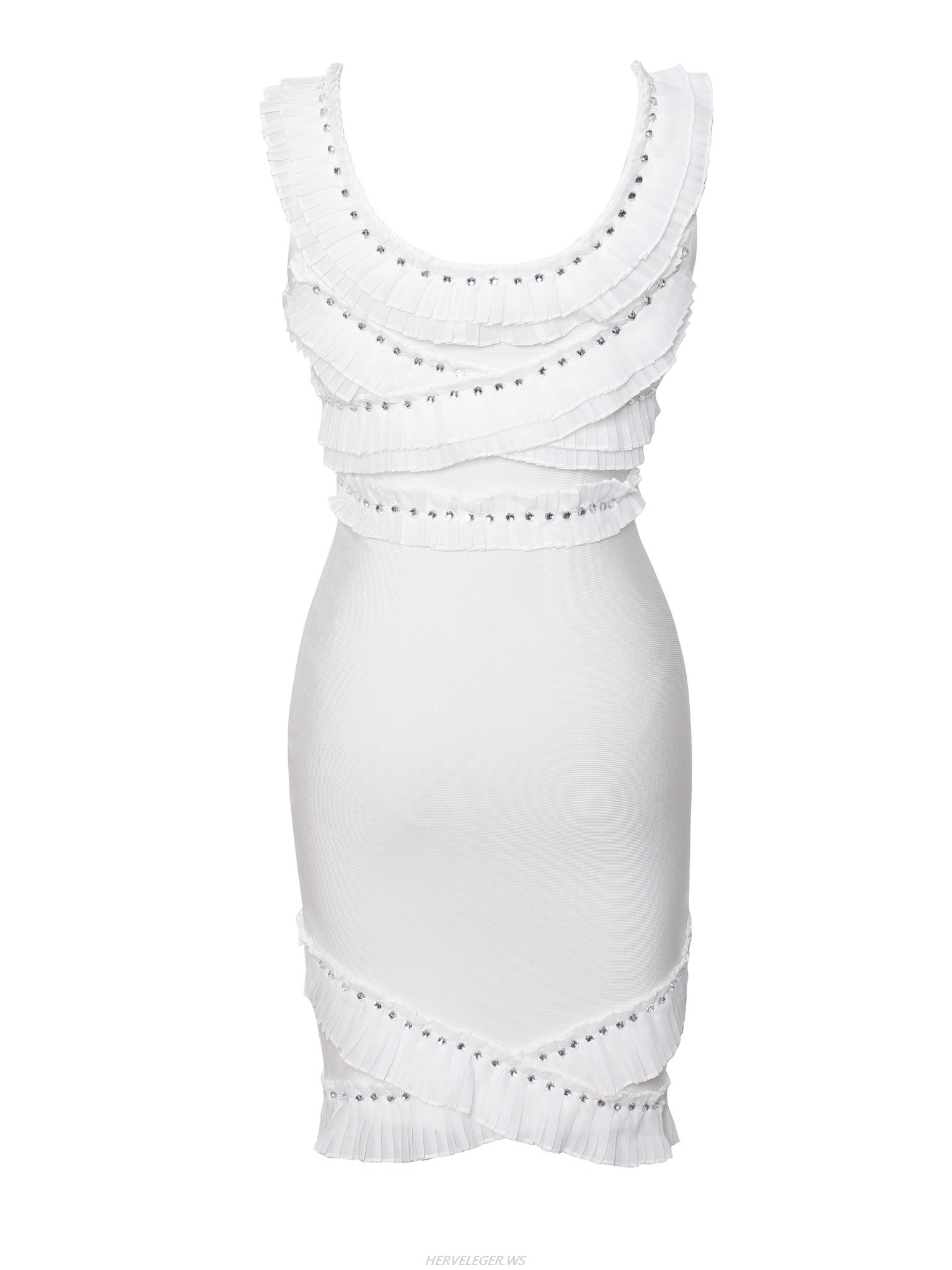 Herve Leger White Ruffle And Stud Dress