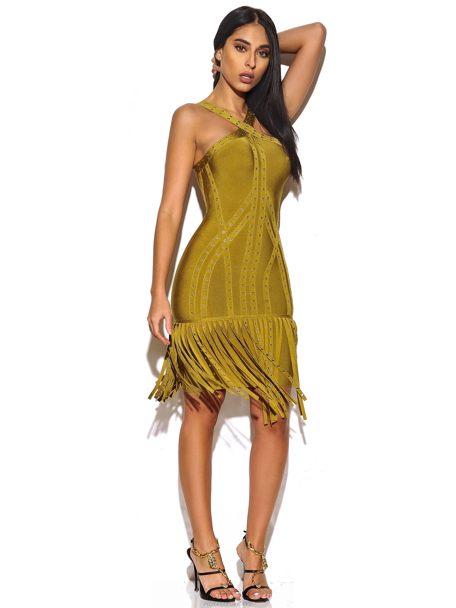 Herve Leger Olive Green Studded Fringe Dress