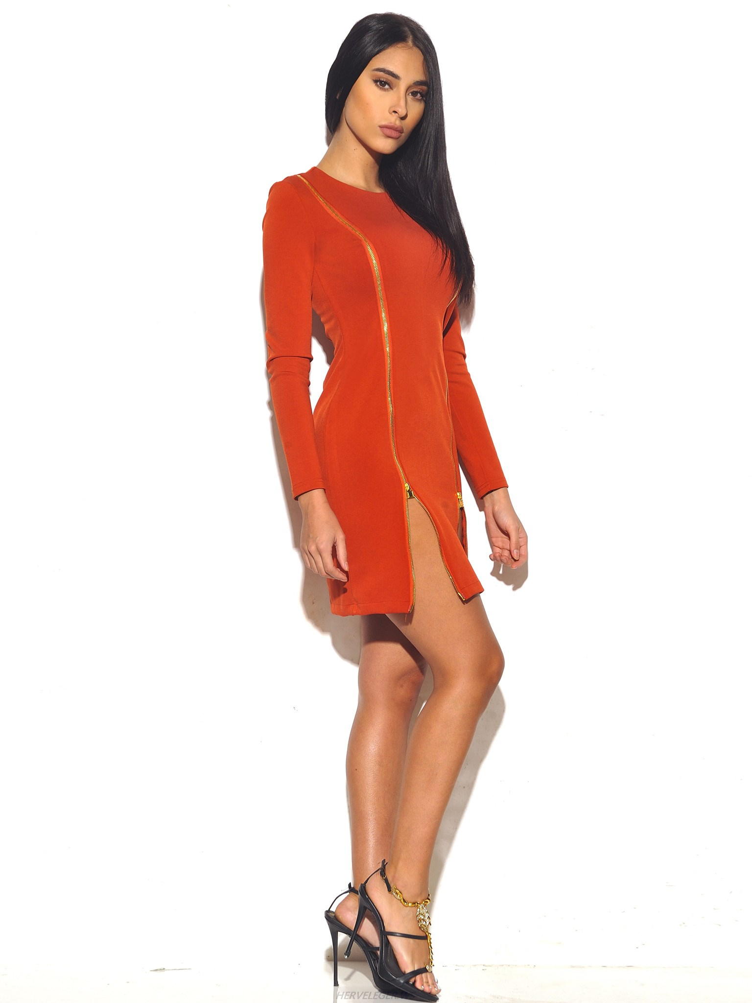 Herve Leger Red Zip Up Long Sleeve Stretch Dress