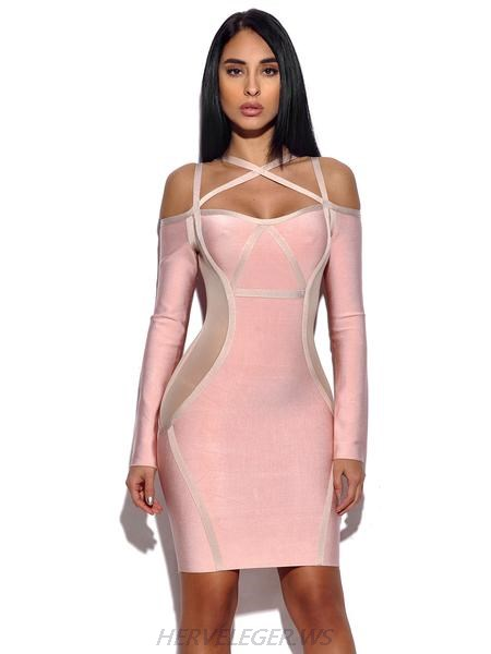 Herve Leger Pink Off Shoulder Cutout Dress