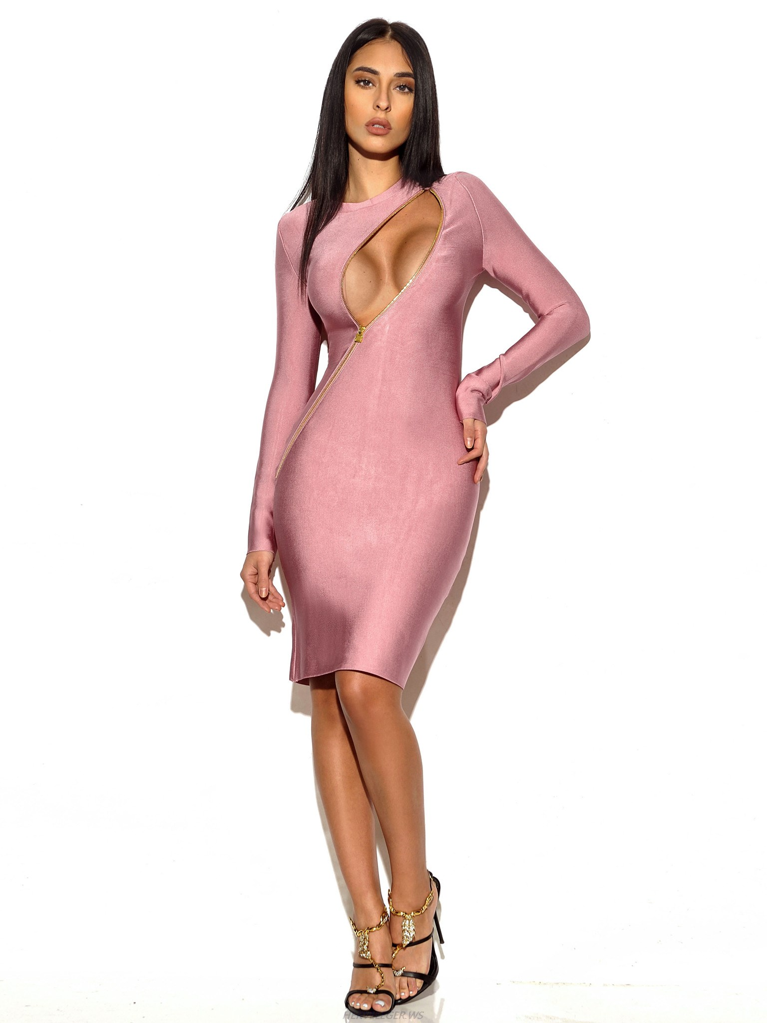 Herve Leger Light Purple Asymmetric Zip Long Sleeve Dress