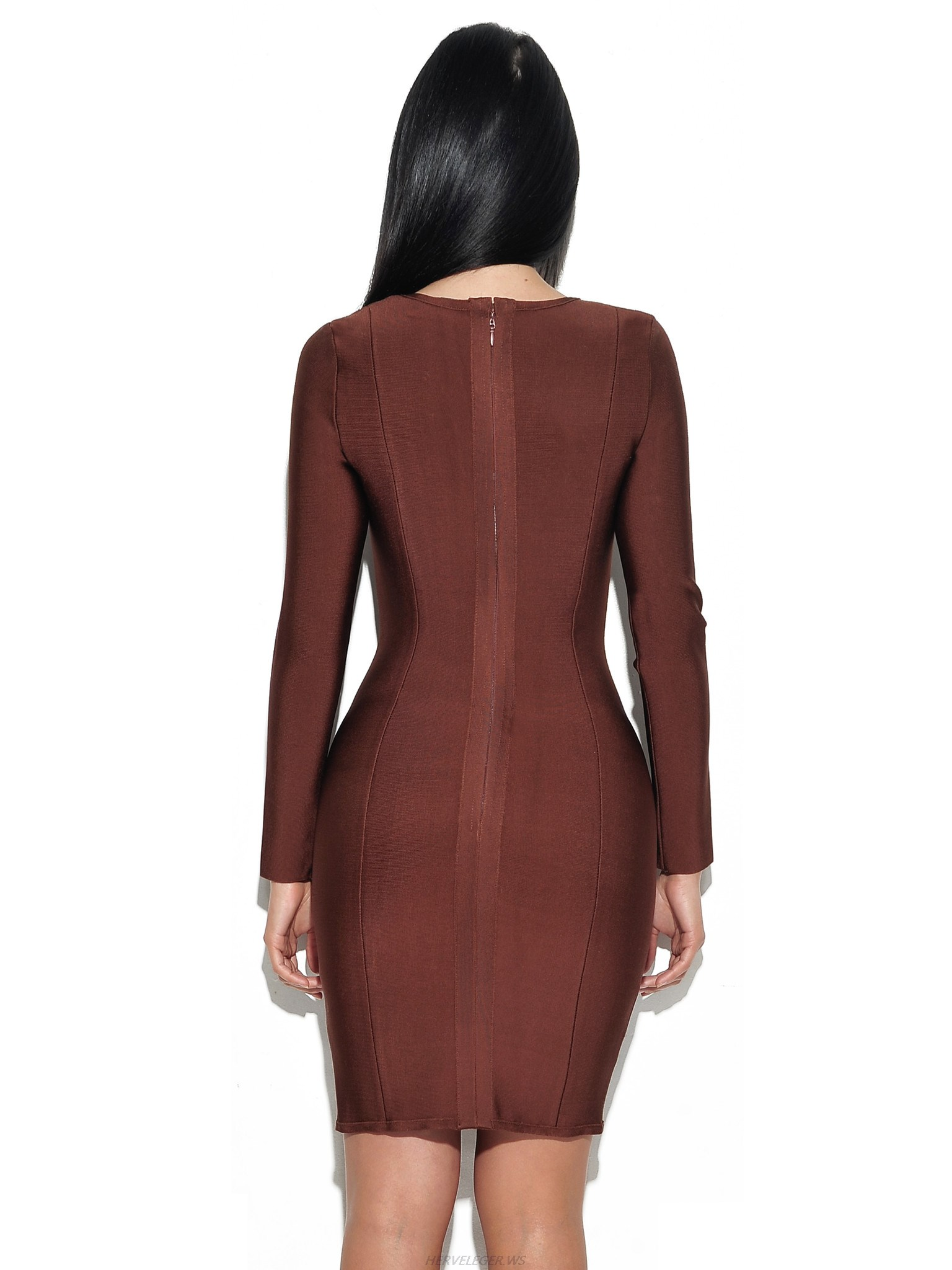 Herve Leger Brown V Neckline Long Sleeve Dress