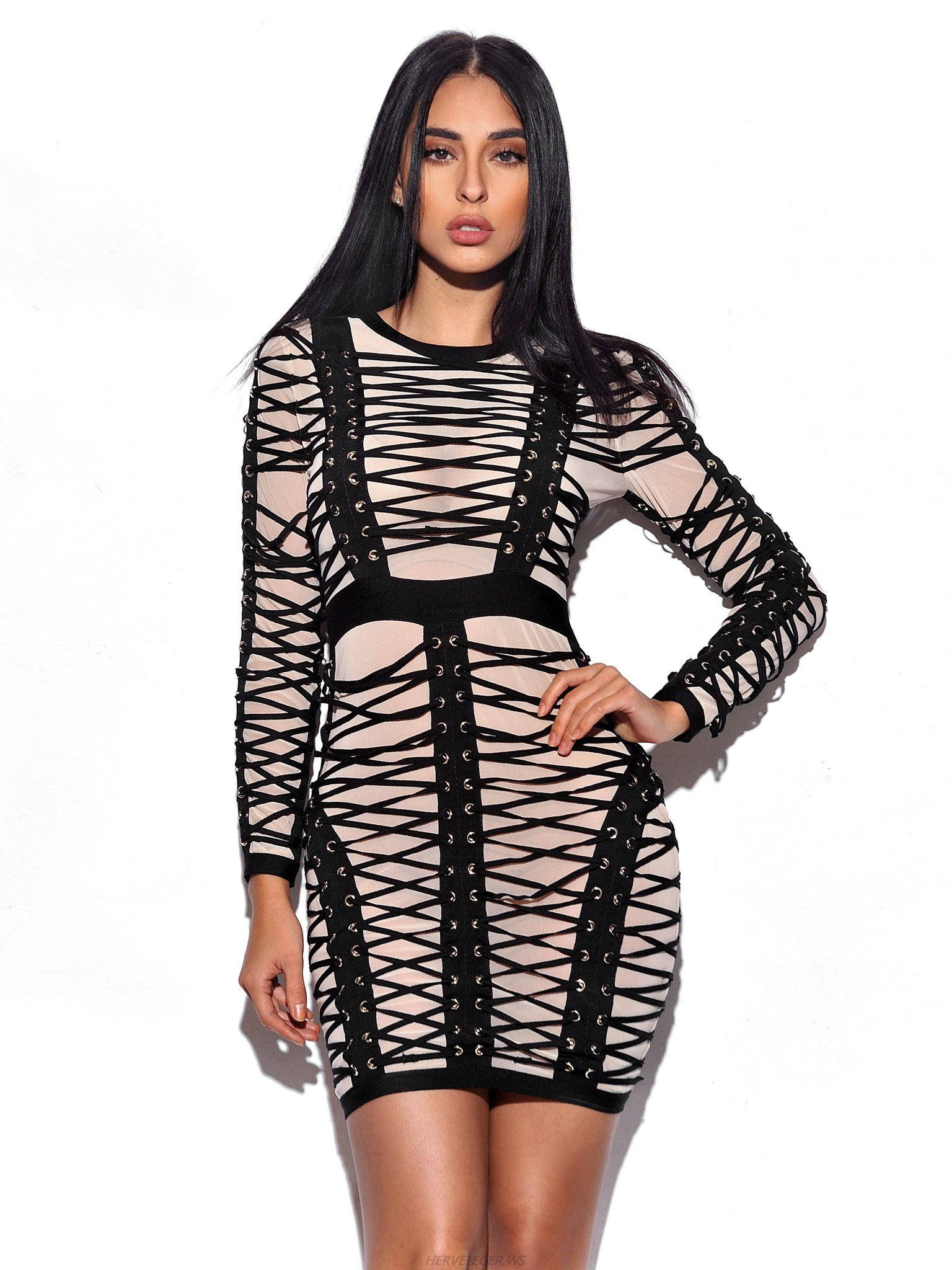 Herve Leger Black And White Lace Up Long Sleeve Dress