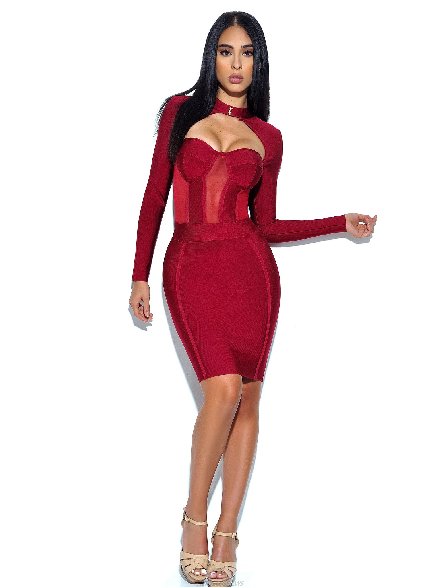 Herve Leger Red High Neck Bustier Long Sleeve Dress