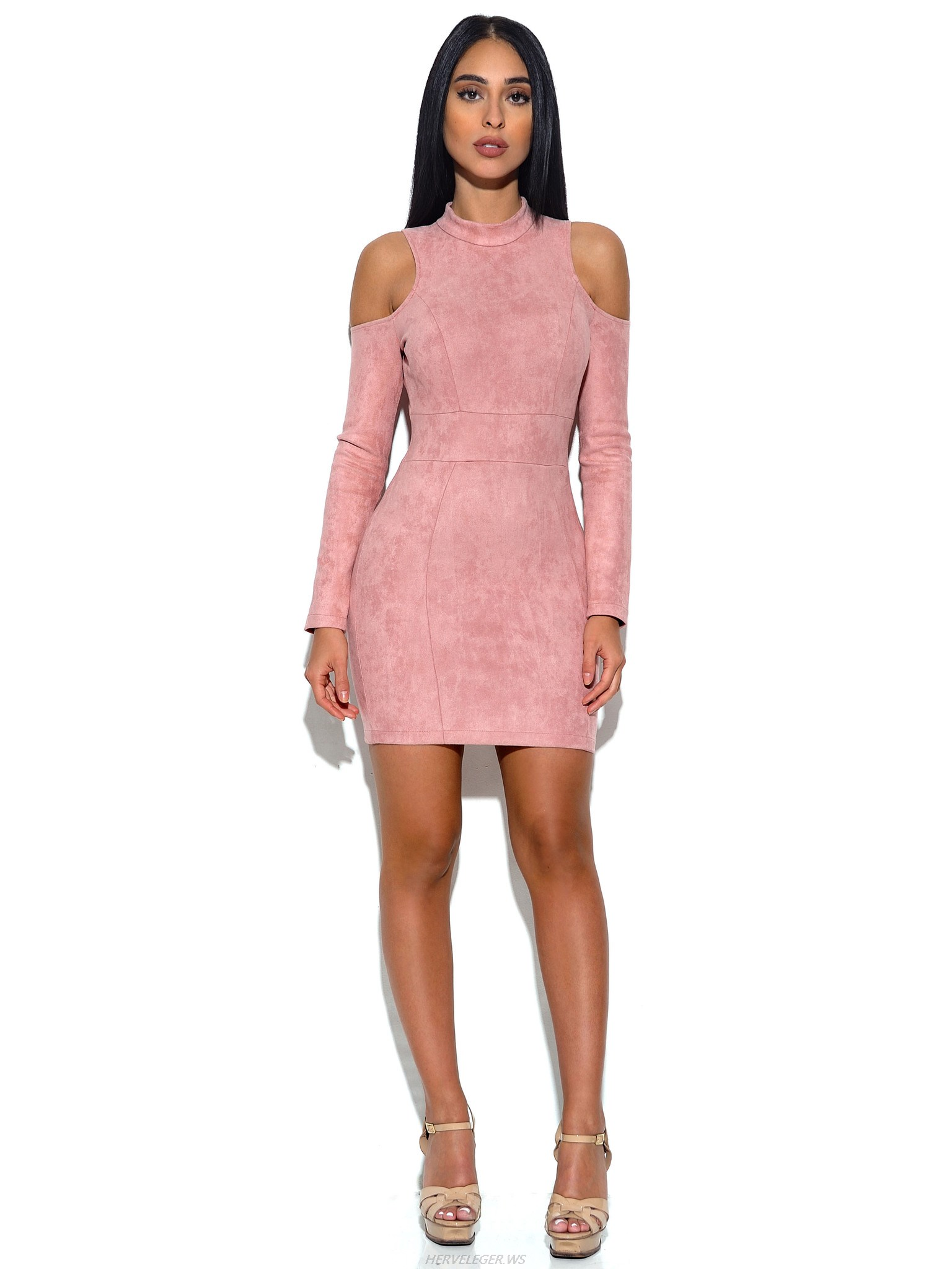 Herve Leger Pink Shoulder Cut Out Suede Dress