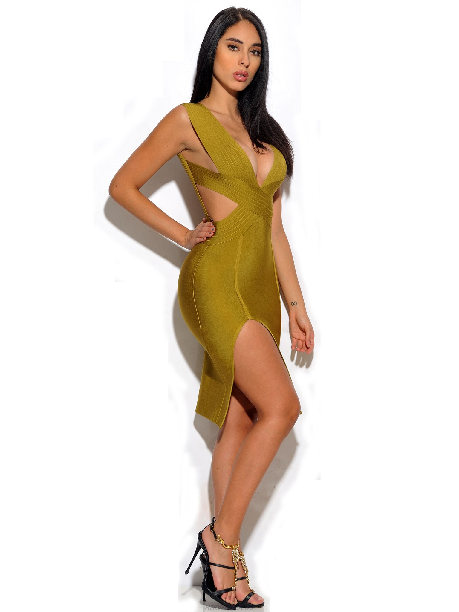 Herve Leger Olive Green V Neck Straps Cut Out Dress