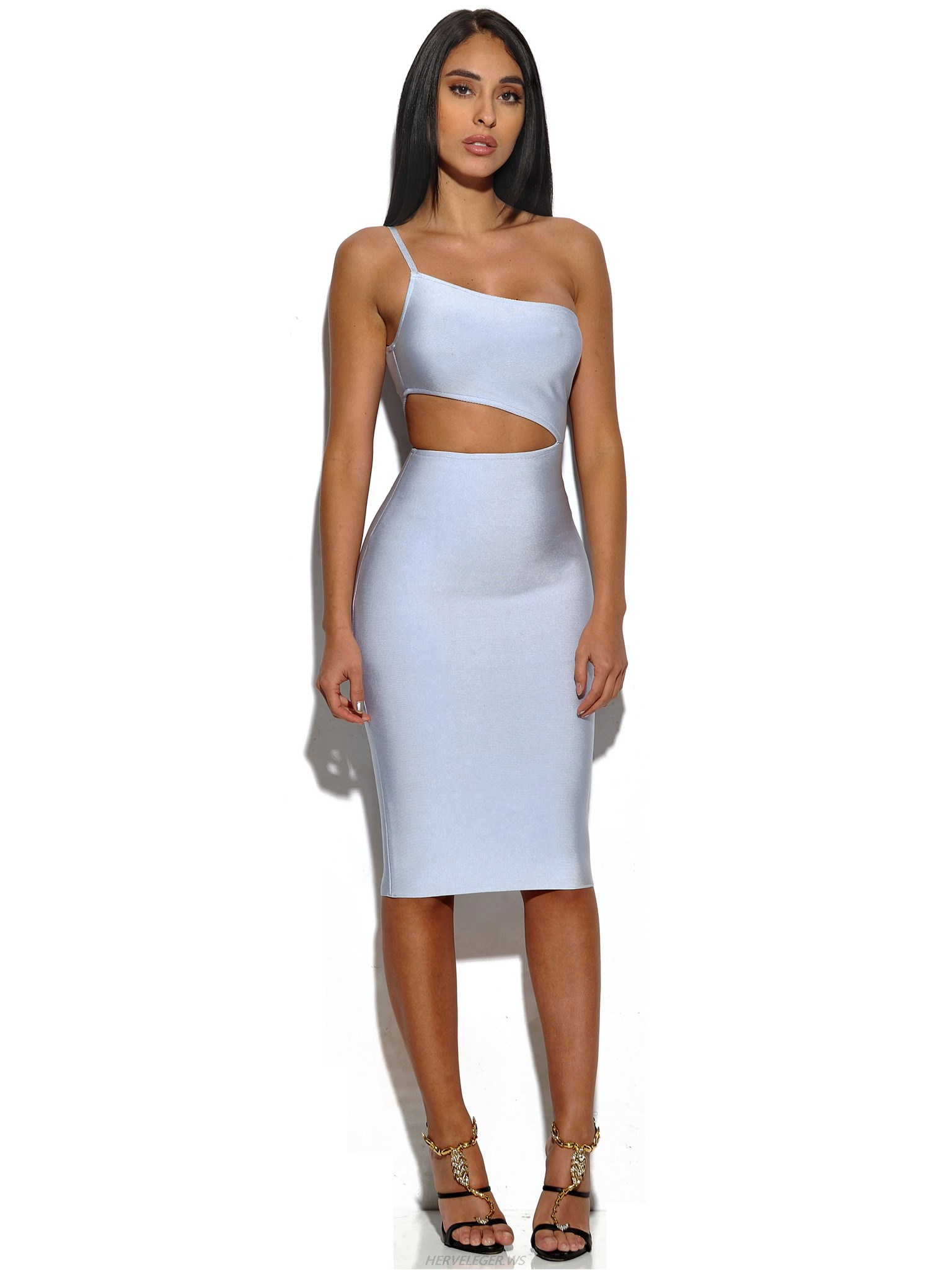Herve Leger Ice Blue One Shoulder Asymmetric Cutout Dress