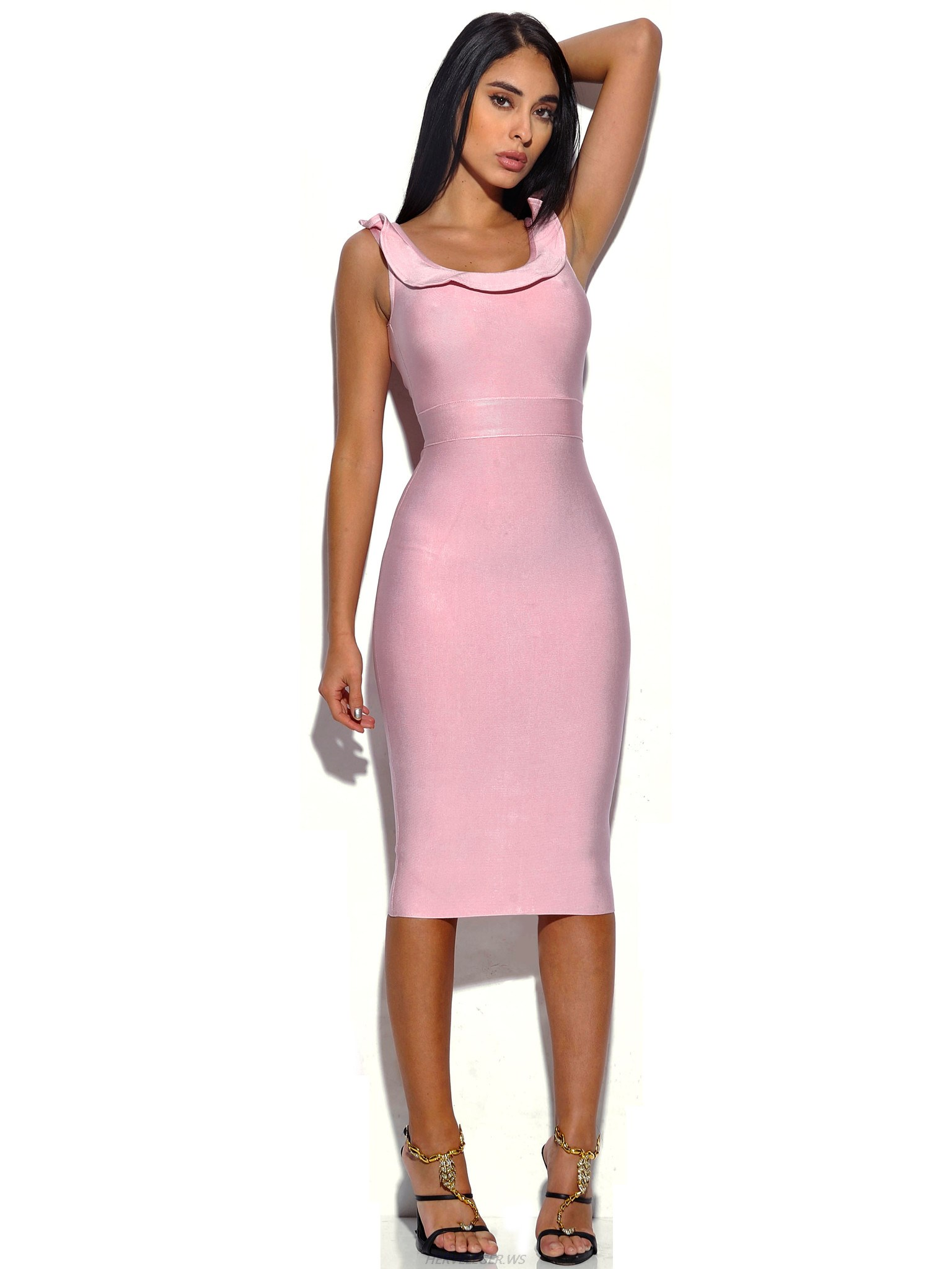 Herve Leger Pink Ruffle Neckline Dress
