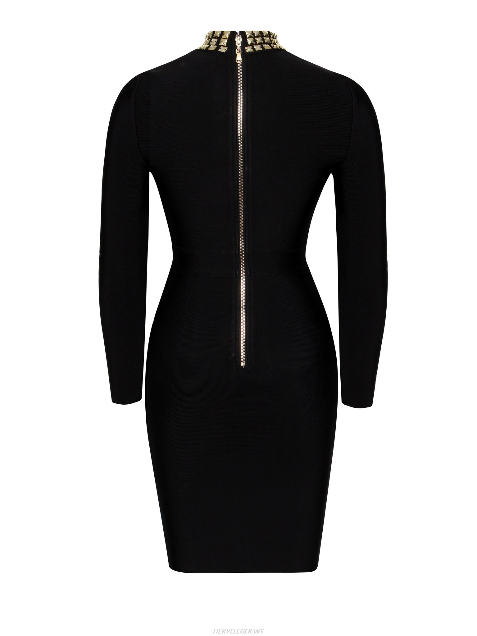 Herve Leger Black And Gold Stud Long Sleeve Dress