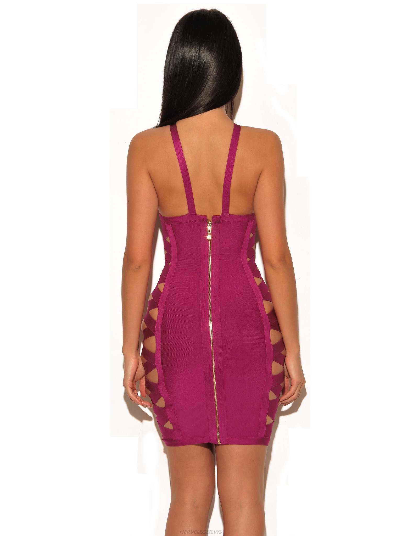 Herve Leger Purple Cross V Neck Cutout Dress