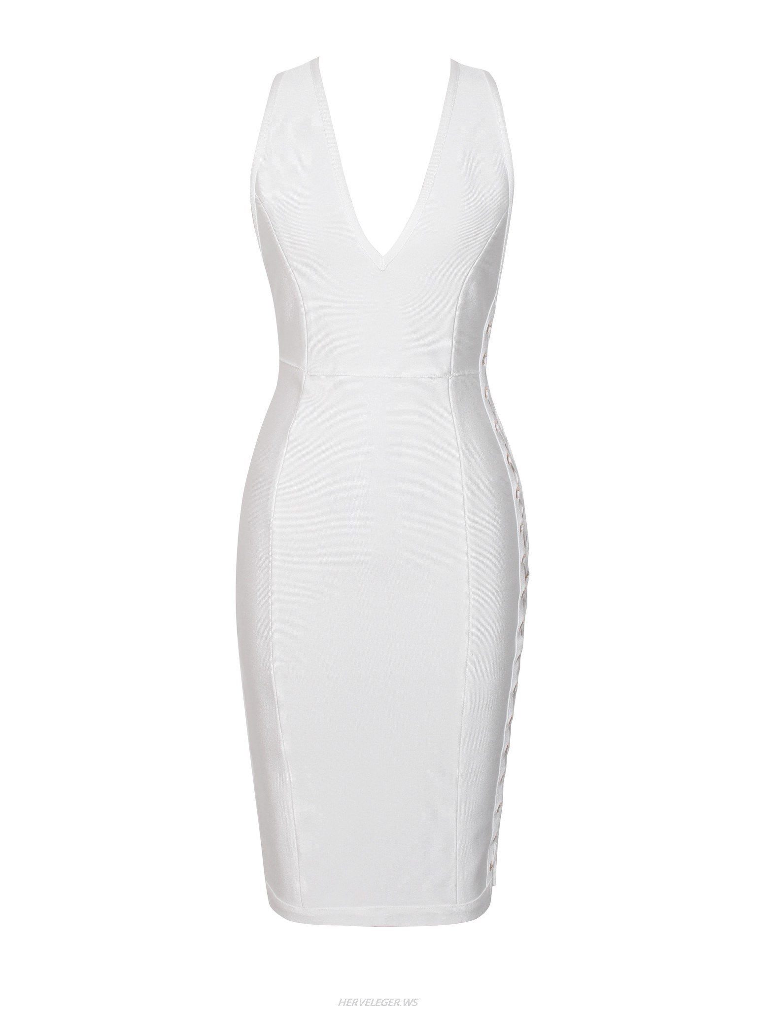 Herve Leger White V Neck Cut Out Dress