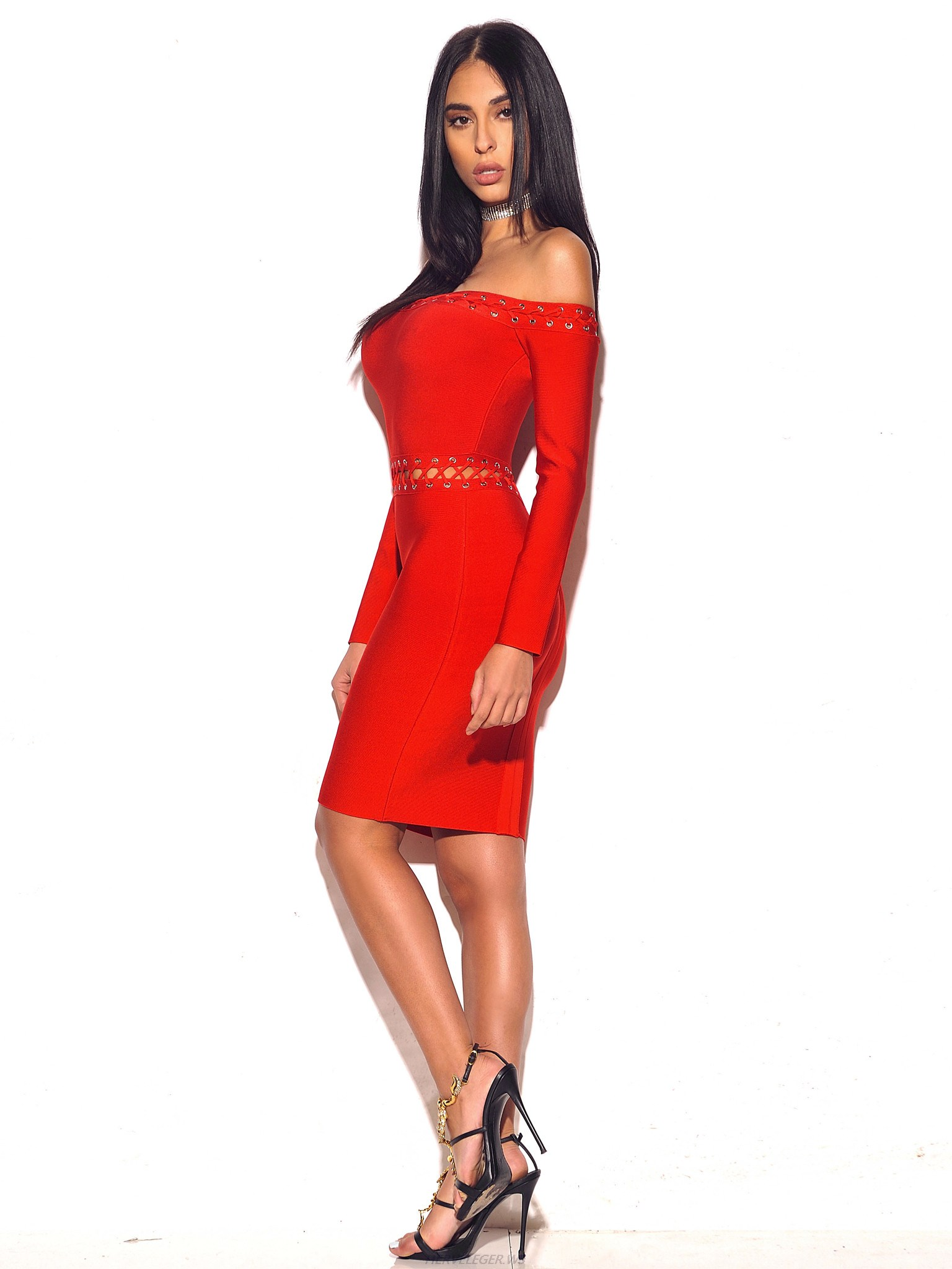 Herve Leger Red Lace Up Strapless Long Sleeve Dress