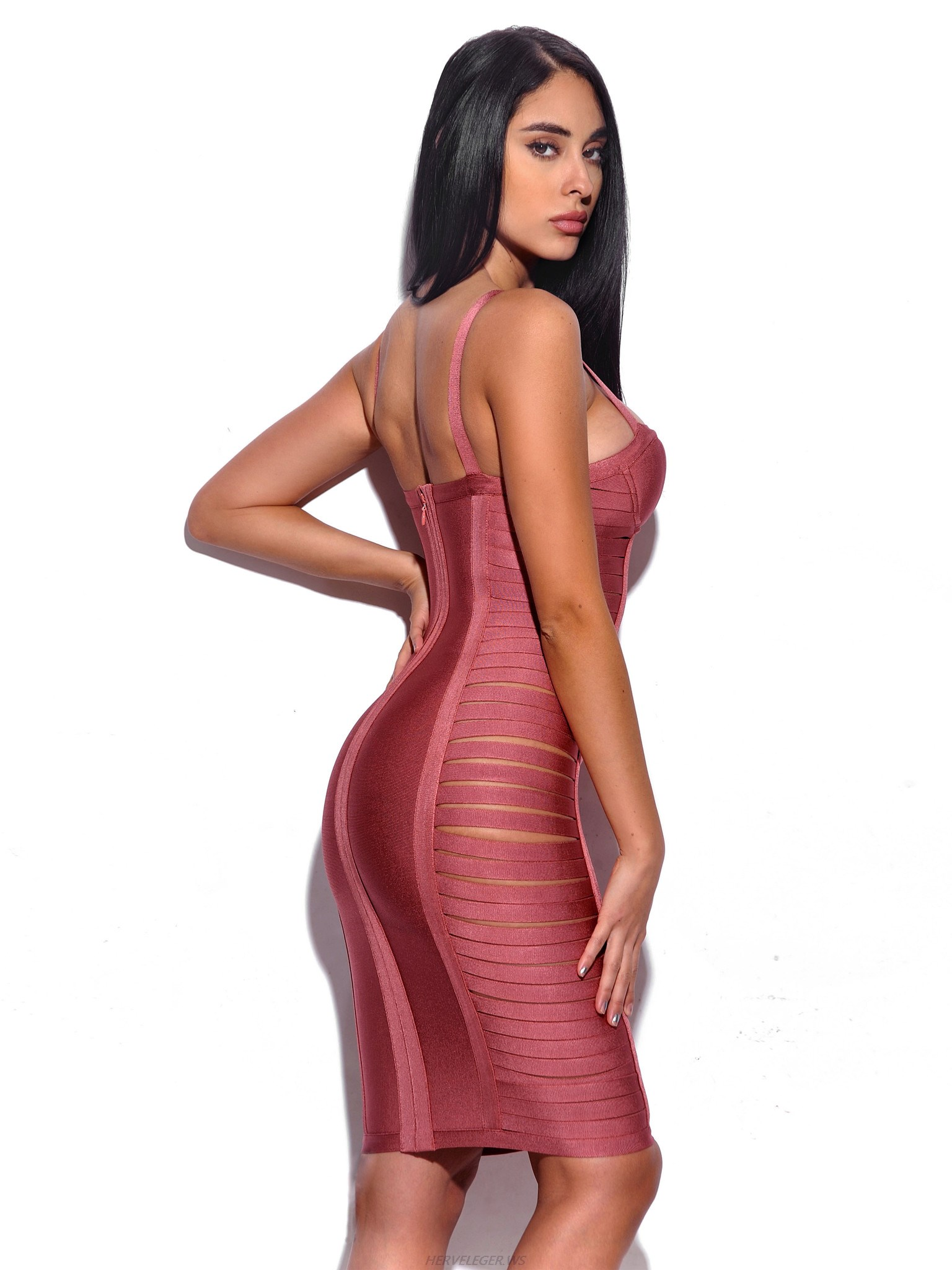 Herve Leger Purple Romina Cut Out Hip Dress