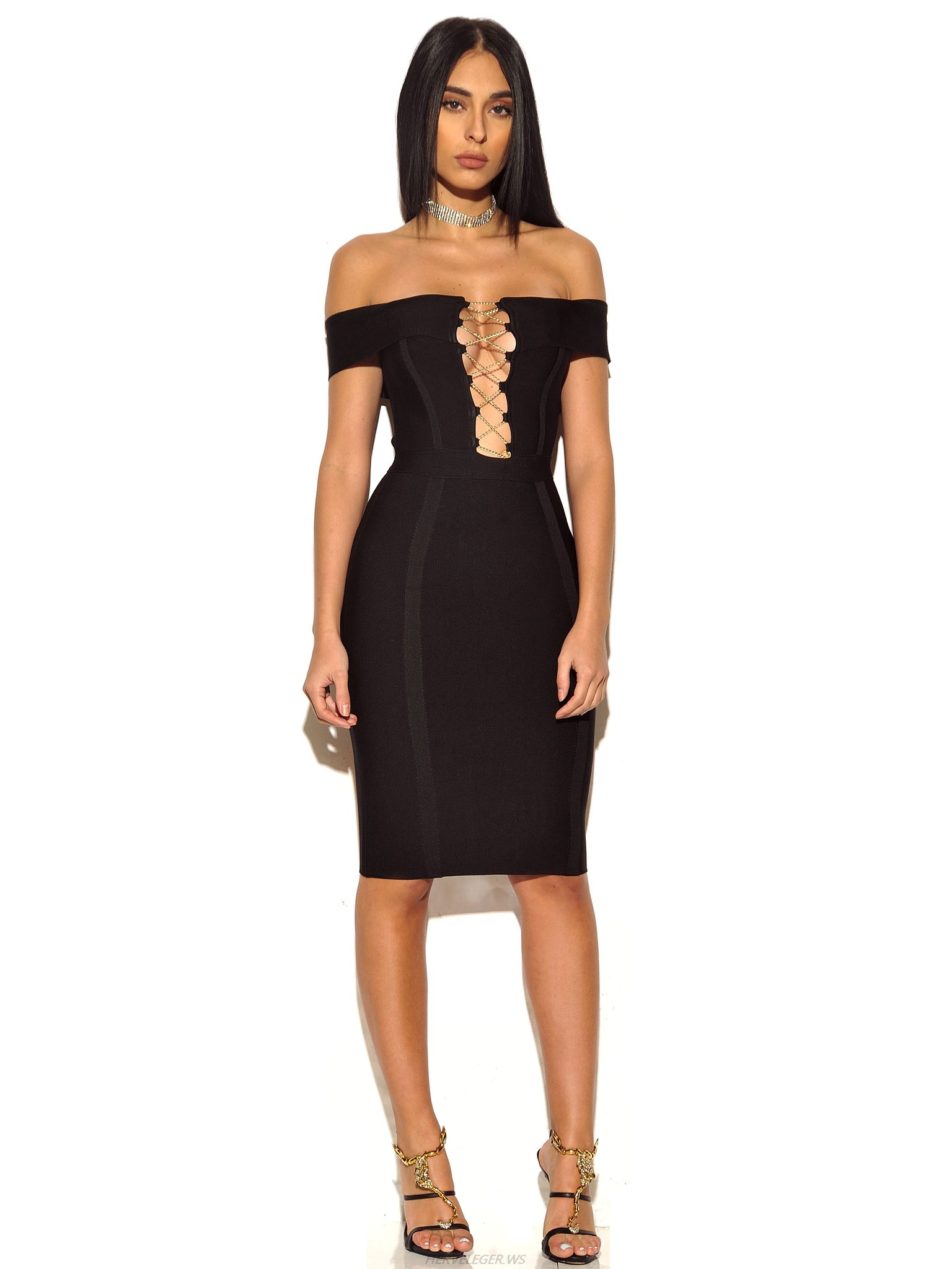 Herve Leger Black Strapless Off Shoulder Dress