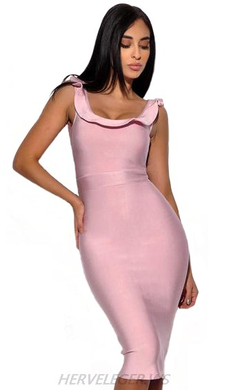 Herve Leger Pink Ruffle Detail Dress