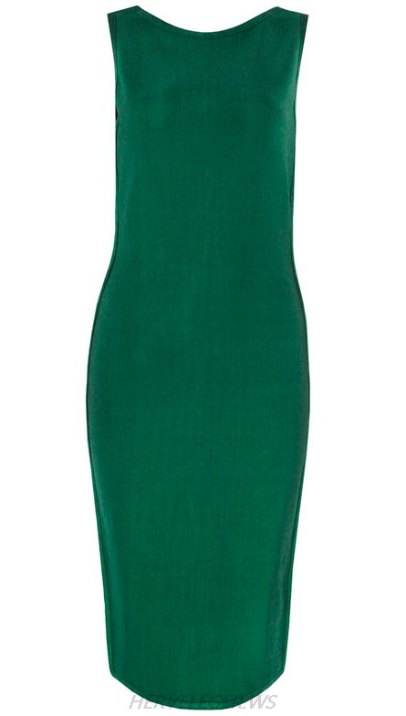 Herve Leger Green Side Cut Out Dress