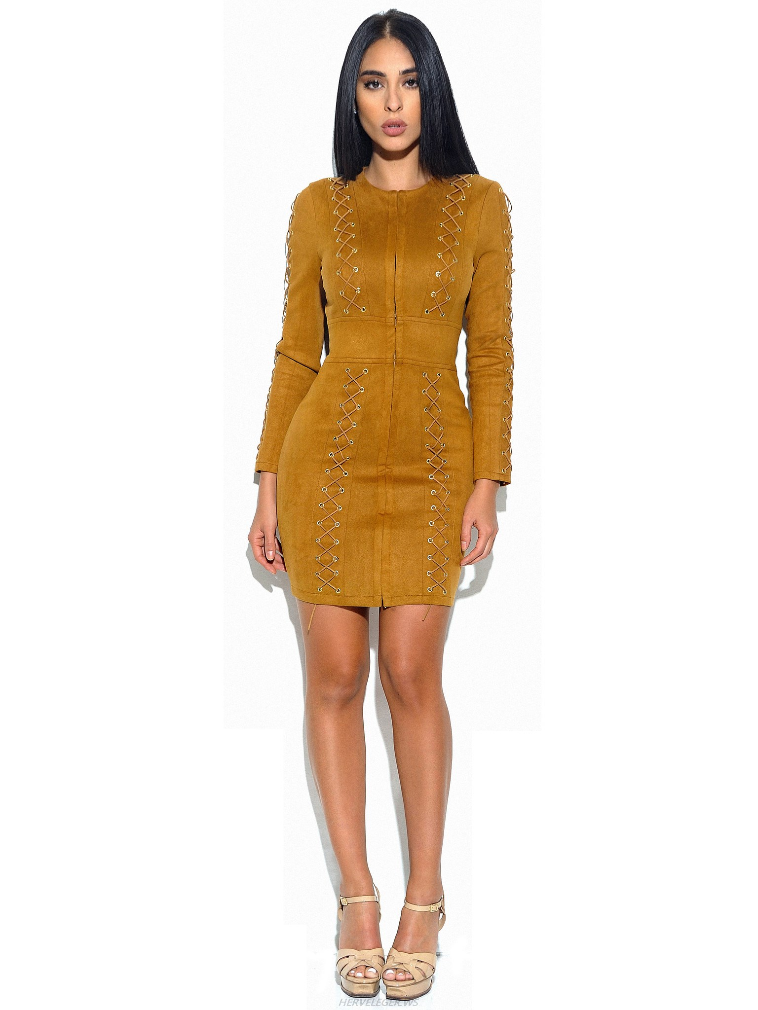 Herve Leger Yellow Lace Lattice Long Sleeve Suede Dress