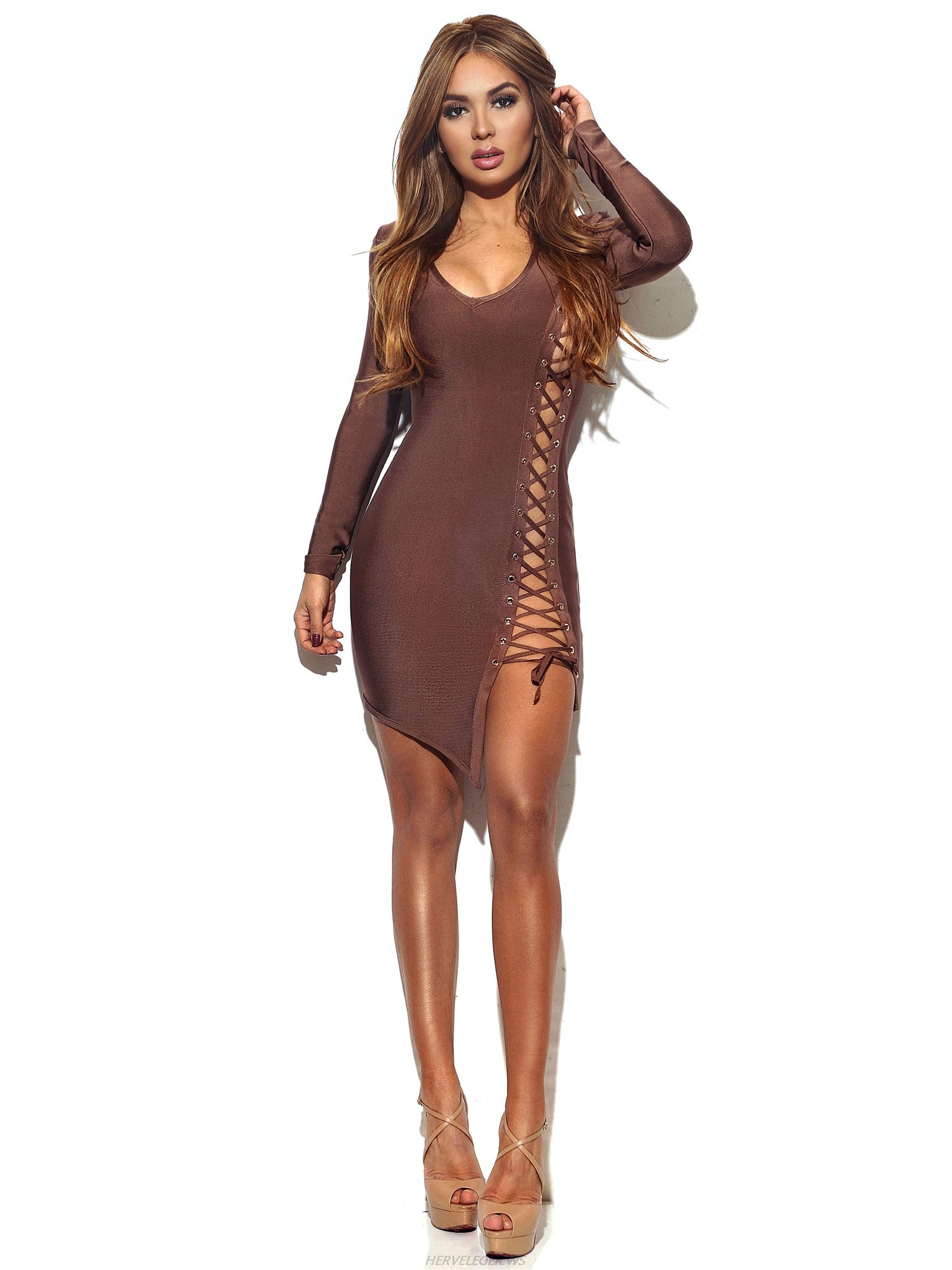 Herve Leger Coffee Lace Up Long Sleeve Dress