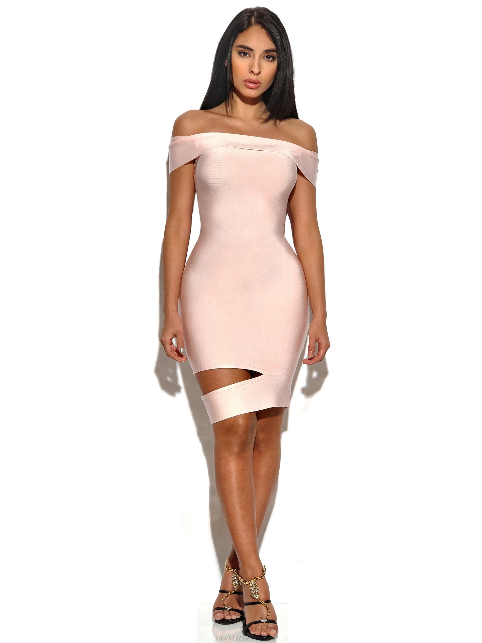 Herve Leger Pink Strapless Cut Out Dress