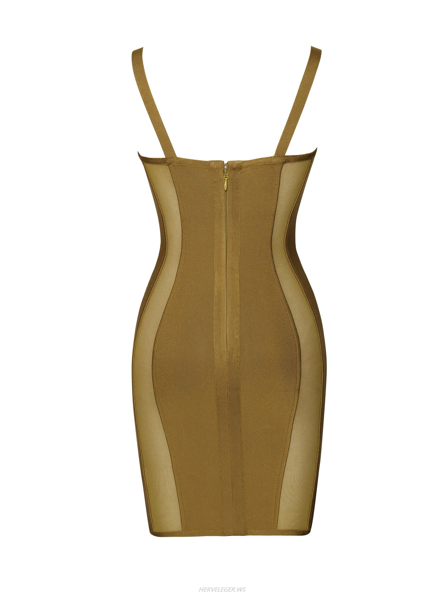 Herve Leger Yellow Sweetheart Top Sheer Cut Out Dress