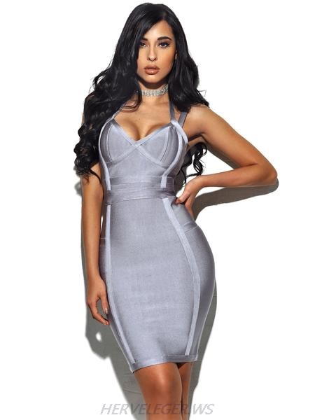 Herve Leger Halter Top Gray Dress