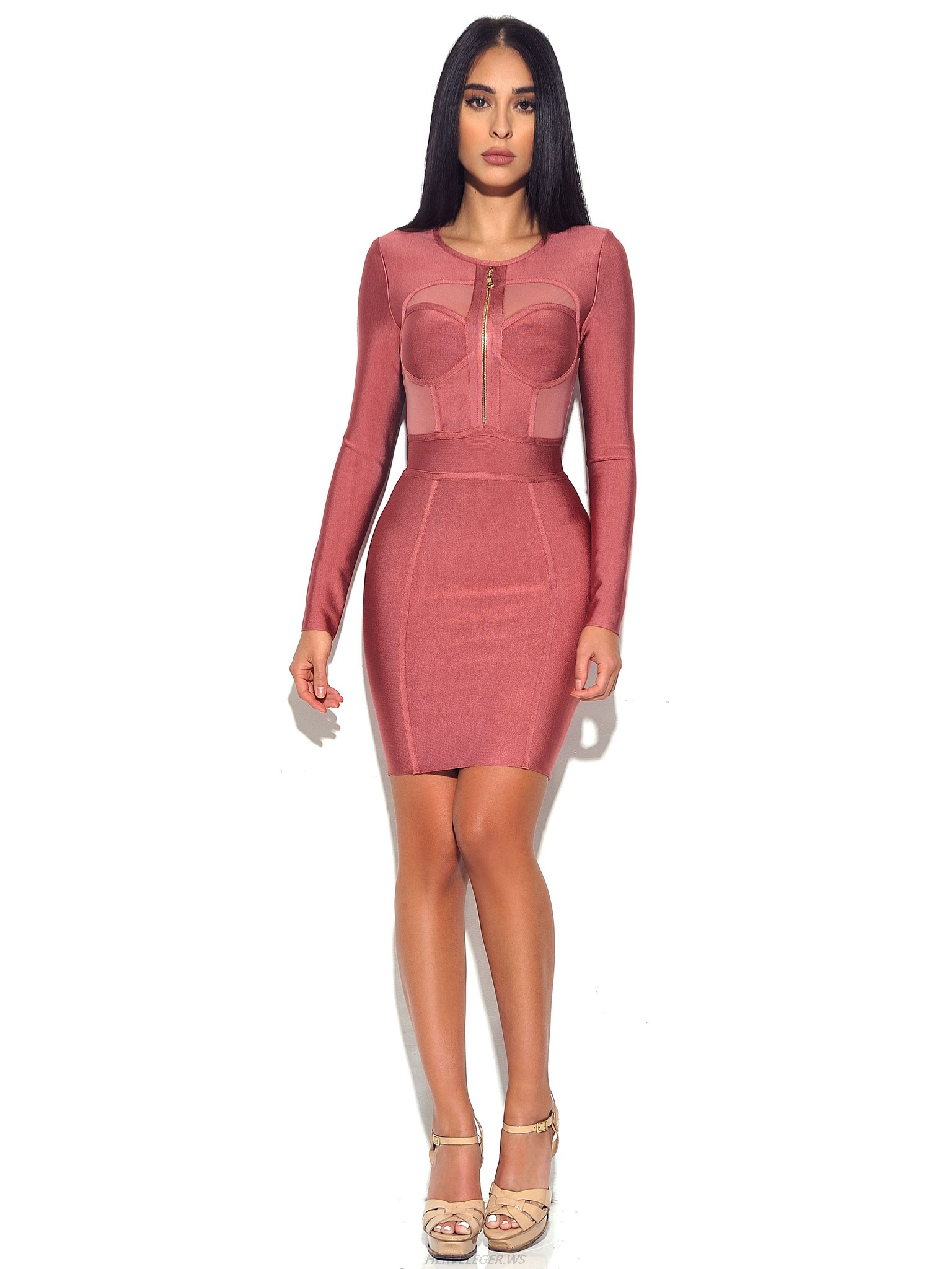 Herve Leger Coral Pink Sheer Cut Out Long Sleeve Dress